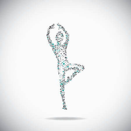 Dancer consist of dots on the gray backdrop