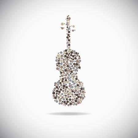 violines: Cello consiste de puntos en el telón de fondo gris Vectores