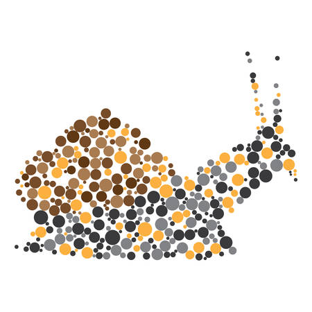 Dotted colorful snail silhouette on white backdrop Vector