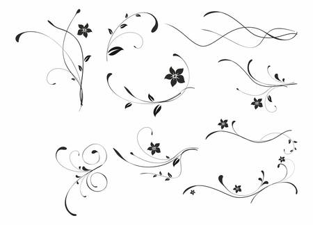 decors: abstract floral black patterns on white backdrop