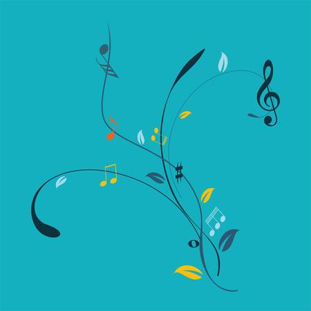 Music notes on a  blue background Vector