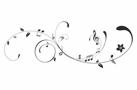 Black music notes on a  white background