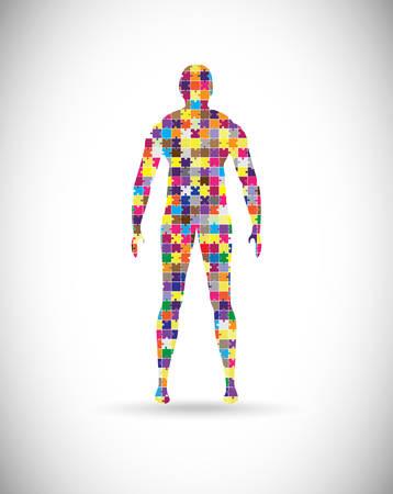 Abstrakt männlichen Körper der Puzzleteile gebaut