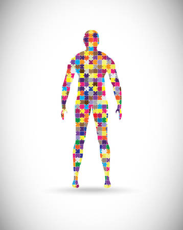 Abstract male body built of puzzle pieces