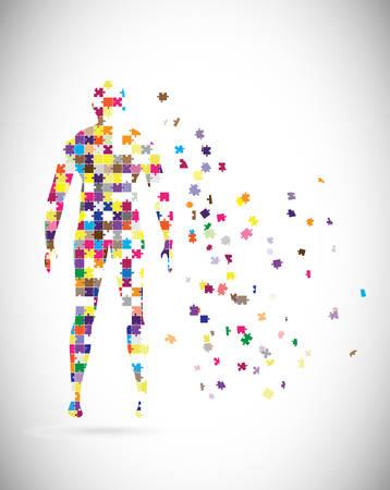 Cuerpo masculino abstracto construido con piezas de rompecabezas