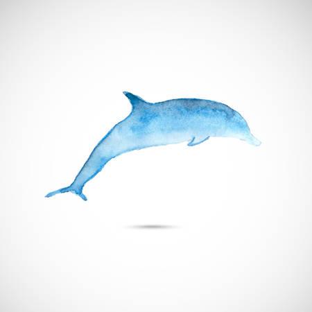 Watercolor dolphin Vector
