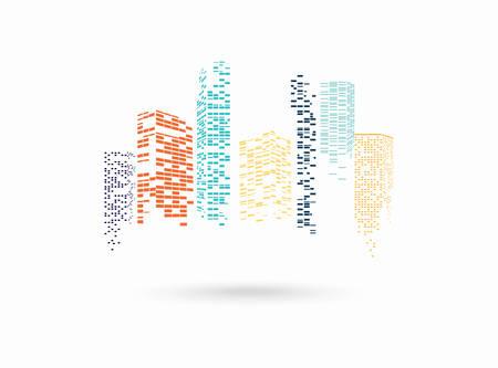 Vector color city silhouette Illustration