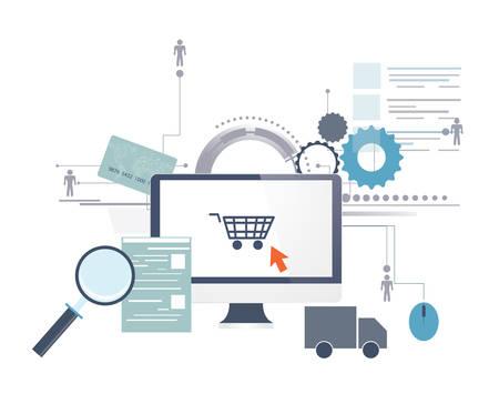 Online winkelen Stock Illustratie