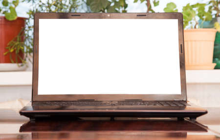 Open laptop with isolated screen photo