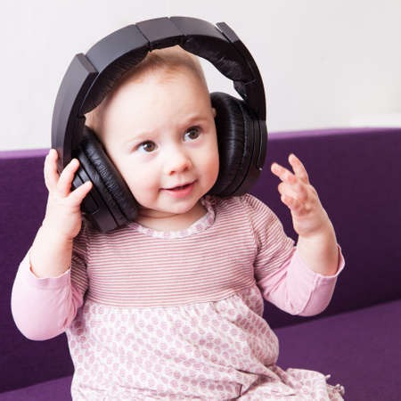 Child with headphones photo