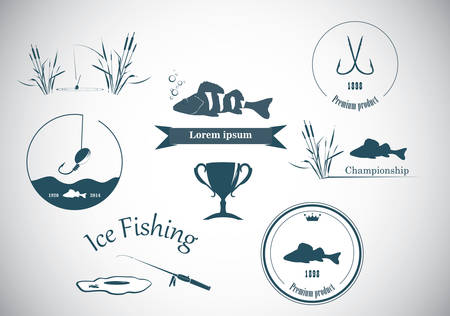 ice fishing: Fishing labels  and design elements
