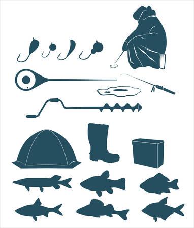 ice fishing: Iconos de pesca de invierno