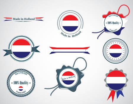 made in netherlands: Made in Netherlands - set of seals, badges. Illustration