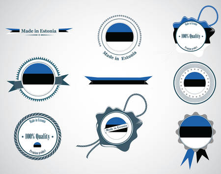 Made in Estonia - set of seals, badges. Vector