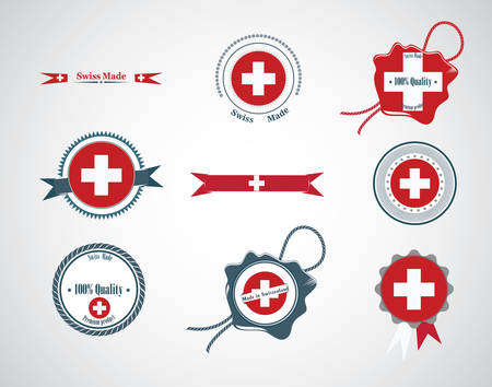 Made in Switzerland - set of seals, badges. Vector