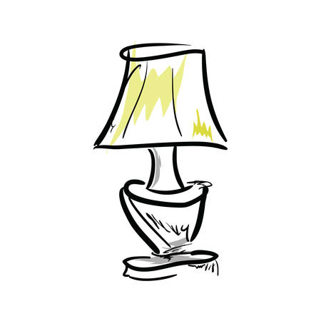 Cartoon lamp on white background. Illustration