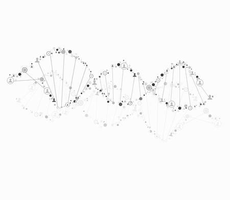 DNA spiral consist of human Illustration