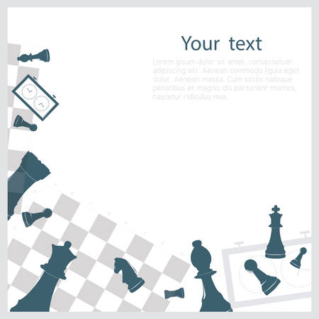 Chess background  with relevant objects on it Ilustração