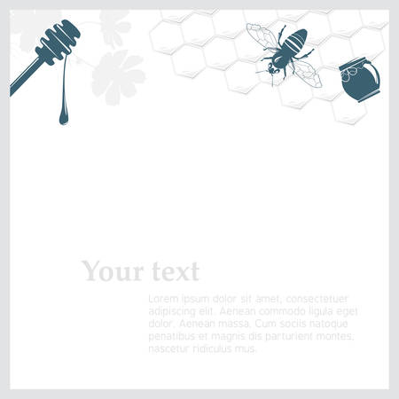 Background with honey with relevant objects on it Vector