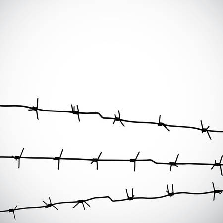 stockade: Barbed wire silhouettes vector Illustration