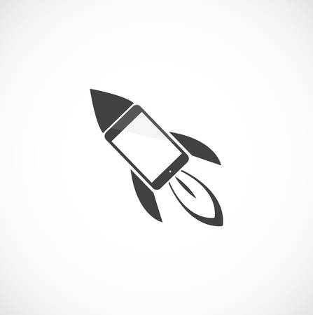 design process: Cartoon rocket with mobile phone on the gray Illustration