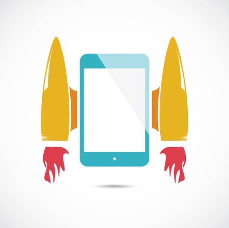 mobile internet: Cartoon rocket with mobile phone on the gray Illustration