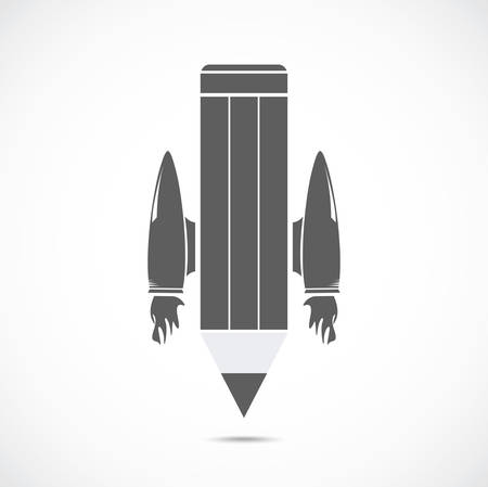 jet: Pencil with jet engines on the gray background Illustration