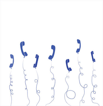 phone cord: Row of old handsets on white background