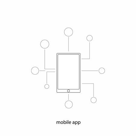 mobile app: Mobile app. Technology abstract concept on the white backdrop.