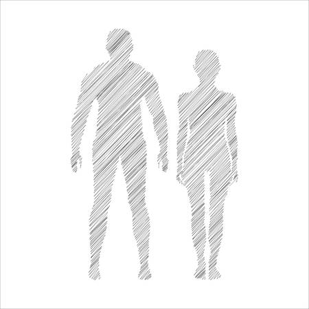 compliant: Abstract man and woman icon. Doodle style