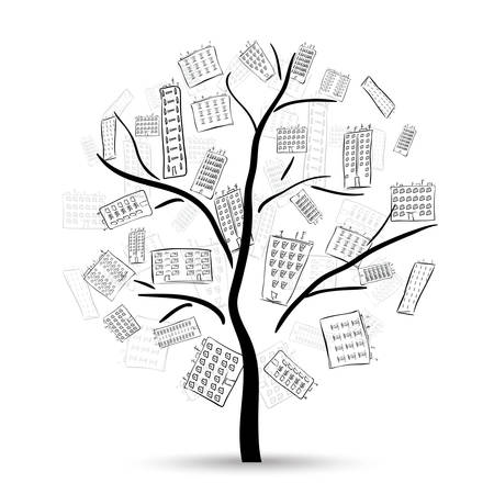 architecture abstract: Tree with houses on branches on the white background