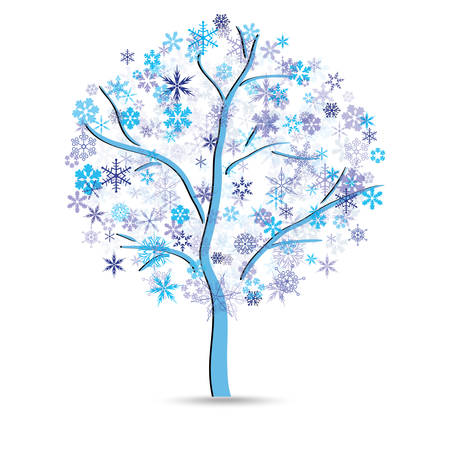 instead: Tree with snowflakes instead of leaves on the white background