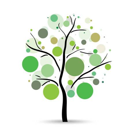 vida natural: Círculos multicolores árbol en el fondo blanco