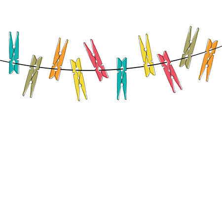 laundry line: Colorful cartoon clothespins on the white background Illustration