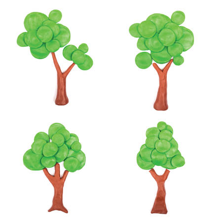 garden design: Plasticine trees on white background. Eco collection
