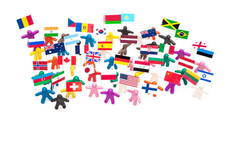 all european flags: Crowd group of colourful plasticine humans with the various flags on the white Stock Photo