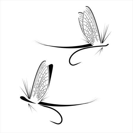 Fly icônes de pêche sur le fond blanc Banque d'images - 50354252