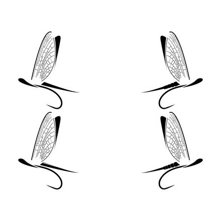 wet flies: Fly fishing icons on the white background