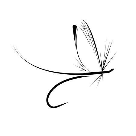 wet flies: Fly fishing icon on the white background