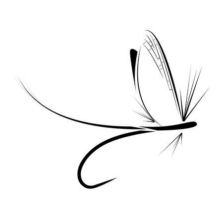 白い背景のフライフィッシング アイコン  イラスト・ベクター素材