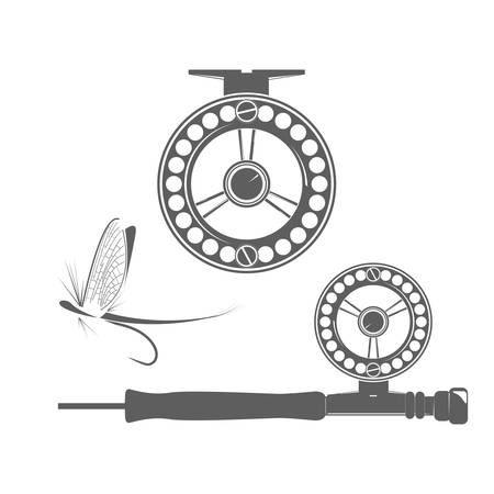 Fishing reel and fly icon on the white background