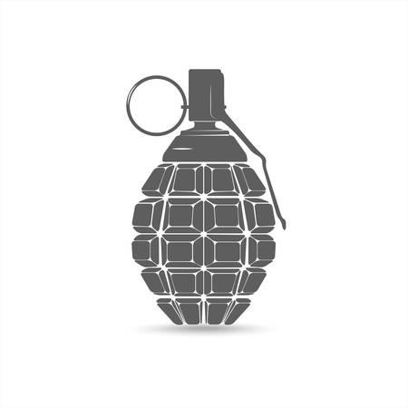 fragmentation: Grey hand grenade on the white background