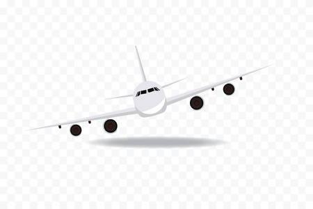 veiw: Flying plane icon.  Plane on geometric background. Front veiw of plane