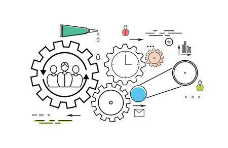 engeneering: Modern teamwork concept on the white background