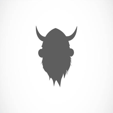 shadowgraph: Silhouette of viking avatar in grey color Illustration