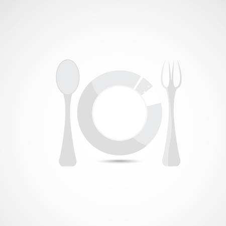 shadowgraph: Grey silhouette of plate with fork and spoon Illustration