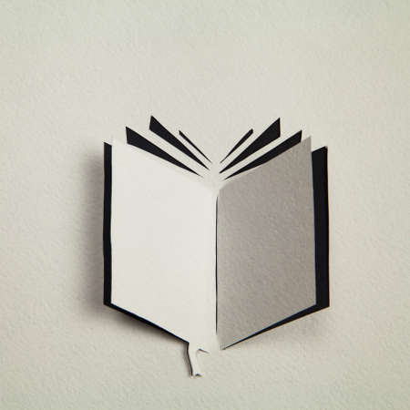 Origami Book icon cut out from the paper Stock Photo - 67074462