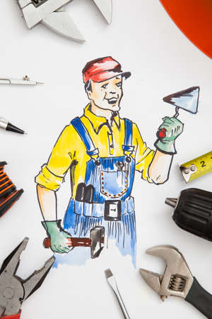 Picture of builder with tools.