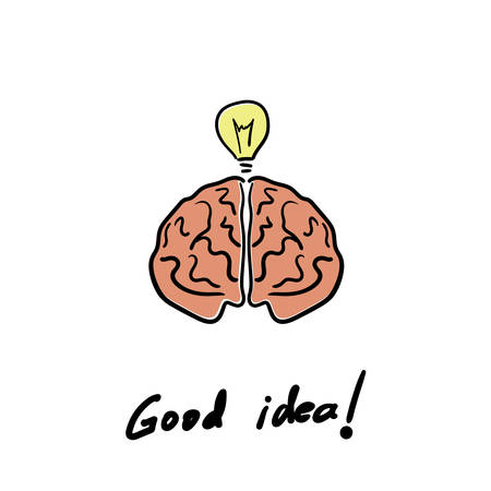 Light bulb and Brain Idea concept on white background