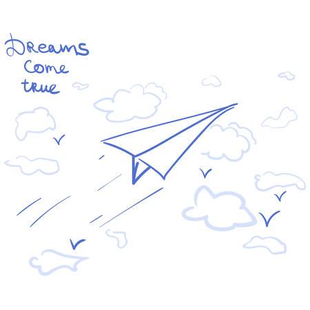 漫画の夢のフレーズと空の紙飛行機  イラスト・ベクター素材